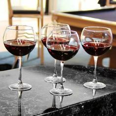 "Monogram Wine Glasses Set Of 4, RED, C by Home Decorators Collection. $32.50. Both styles hold 19oz. of wine.. White wine glasses: 9.5""H x 3""D.. Red wine glasses: 8""H x 3""D.. Complete your barware collection with these monogrammed wine glasses. Perfect for bringing an elegant touch to your drinkware, each glass may be engraved with a single, block initial. Hand-blown clear glass may contain tiny bubbles and variations, making each piece beautiful and unique. Makes a grea..."