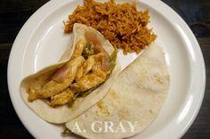 Chicken Fajita and Spanish rice.