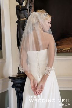 Wedding Veil XENOBIA: XENOBIA is a one layer waist length veil with a gorgeous metallic silver pencil edge and silver crystal appliques.