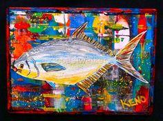 ~POMPANO~ FiSH painting~ Maine Abstract FOLK ART outsider~COASTWALKER | eBay