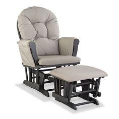 Stork Craft Hoop Custom Glider Chair and Ottoman Set, Beig/Green (Beig/Khaki)