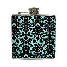 Tiffany Blue and Black Damask Liquor Flask Modern Elegant Bridesmaid Gift Stainless Steel 6 oz Liquor Hip Flask LC-1006. $20.00, via Etsy.
