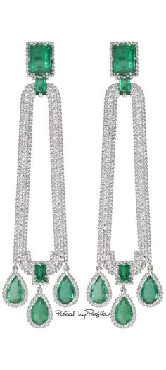 gorgeous Emerald diamond earrings - Beauty Bling Jewelry