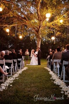 Um So cute! Love the isle lined with flowers and the hanging lights in the tree.. :D