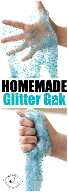 Homemade Glitter Gak Recipe: Looking for an awesome glitter gak recipe? Look no … Homemade Glitter Gak Recipe: Looking for an awesome glitter gak recipe? Look no more! This type of glue has a consistency of a solid mass, without borax Homemade Slime, Diy Slime, Homemade Recipe, Homemade Art, Crafts For Teens To Make, Diy And Crafts, Summer Crafts, Summer Fun, Borax Slime