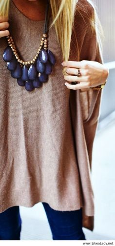 Camel & Navy Blue. Love this classic look! Simple style with a bold statement necklace.
