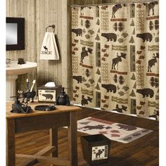 Bear Moose Shower Curtain Etc Country Bears Big Accessories