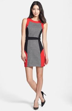 kensie Mesh Colorblock Ponte Sheath Dress available at Colorful Fashion, Diy Fashion, Fashion Outfits, Fashion Women, Plus Size Dresses, Dresses For Work, Summer Dresses, Hollister Style, Color Blocking Outfits