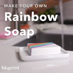 DIY Rainbow Soap: Learn how to make this beginner-friendly rainbow soap! Youll just need a few supplies and a little bit of time. When youre done, you can wash your hands with a rainbow! diy techniques and supplies DIY Rainbow Soap Diy Soap Video, Creation Bougie, Rainbow Project, Savon Soap, Homemade Soap Recipes, Soap Making Recipes, Soap Base, Milk Soap, Mason Jar Diy