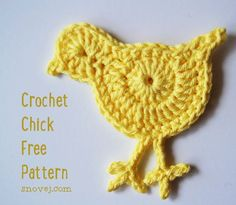 Here's a cute chick pattern I made up last night as a last minute decoration for our Easter table. It's fast and fun to make. Just three rounds! Crochet Chick Round 1: Magic Circle, C...