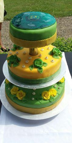 We mochten een heel bijzondere bruidstaart maken in groen geel, de kleuren van ADO Den Haag voor een echte Haagse bruiloft.