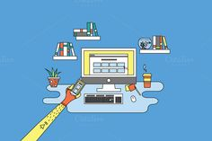 Hipster designing responsive office by MarioMovement on Creative Market