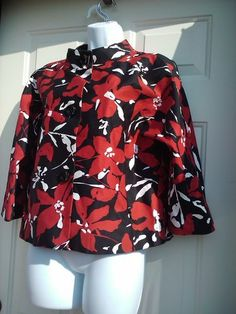 Anne Klein Sz 12 Jacket P Mandarin Collar Cotton Stretch Red Black White Blazer | eBay