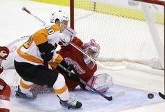 Detroit Red Wings goalie Jimmy Howard Philadelphia Flyers center Brayden Schenn