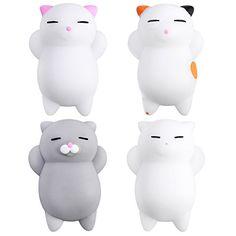 TOYMYTOY 4Pcs Cartoon Slow Rising Toys Mini Cute Kitty Buns Stress Relief Toy: Matériel: TPR, doux et durable, non toxique et écologique.…