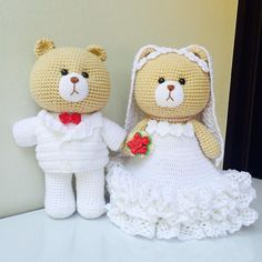 «#teddybear #bear #dolls #amigurumi #adorable #handmade #handcraft #diy #yarn #crochet #crocheted #crocheting #crochetaddict #wedding #love #happy #cute…»