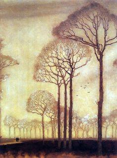 Encantadora arbolada. | «Bomenrij (Row of Trees), Jan Mankes, 1915».