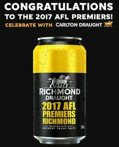 Richmond Draught - the 2017 premiership beer Richmond Afl, Richmond Football Club, Beer History, Brewery, Beer Bottle, Tigers, Melbourne, Strong, Action