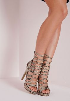 Platform Lace Up Heels Snake - Shoes - High Heels - Missguided | Ireland