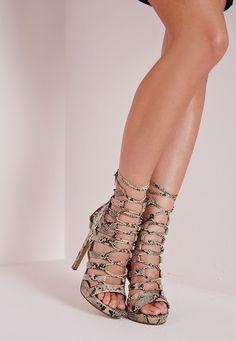 Platform Lace Up Heels Snake - Shoes - High Heels - Missguided | Ireland