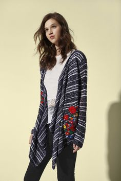 Dark gray cardigan with embroidered flowers