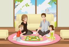 Buy Family Playing Board Game by artisticco on GraphicRiver. A vector illustration of a happy family playing a board game at home. Vector illustration, zip archive contain eps
