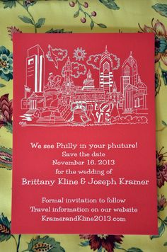 "How lucky to be having an event in Philadelphia with all the historical landmarks. This Save The Date will remind everyone that Philly is a great destination for a wedding or other event. White ink on red paper gives this Save The Date a patriotic touch but it is available in any color or font combination. You can order in any quantity with a minimum order of 20. If Philly is in your ""phuture"" this design will invite and excite."
