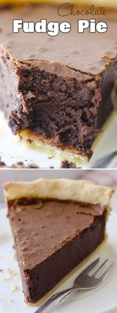 Chocolate Fudge Pie, Desserts, Best ever chocolate pie I& ever tried. This is rich, smooth and utterly decadent - Chocolate Fudge Pie Homemade Chocolate Pie, Chocolate Fudge Pie, Chocolate Pie Recipes, Decadent Chocolate, Homemade Fudge, Chocolate Filling, Best Chocolate Desserts, Cooking Chocolate, Fudge Cake