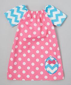 Helene's Closet Pink & Blue Polka Dot Egg Peasant Dress - Infant, Toddler & Girls by Helene's Closet #zulily #zulilyfinds