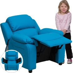 Flash Furniture Deluxe Padded Contemporary Turquoise Vinyl Kids Recliner with Storage Arms [BT-7985-KID-TURQ-GG]