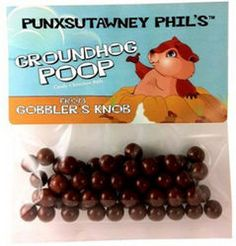 Punxsutawney Phil and his groundhog poop chocolate candy malt balls for groundhog day snacks perfect recipe for a good party favor