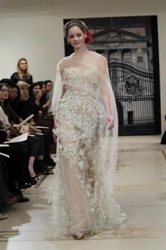 Fashion Friday: Reem Acra Spring/Summer 2012 | http://brideandbreakfast.ph/2011/08/19/fashion-friday-reem-acra-springsummer-2012/ | White and silver sheer long gown