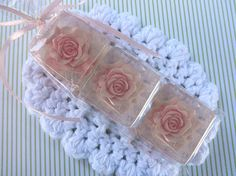 USA Handcrafted! Each mini soap is clear with an embedded pink rose. The roses will last a long time! Rose Fragrance