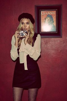 Elsa Hosk is Parisian Chic in For Love & Lemons' Holiday Looks - For Love & Lemons' holiday 2016 collection features the Belle Blouse and Madeline Overall Dress Source by hoettiweise - 70s Inspired Fashion, 70s Fashion, Look Fashion, Autumn Fashion, Vintage Fashion, Fashion Outfits, Womens Fashion, Fashion Hats, Mode Outfits