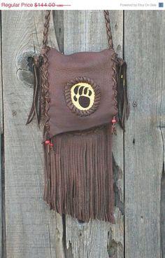 ON SALE Bear claw totem crossbody bag Fringed buckskin handbag Brown fringed leather bag