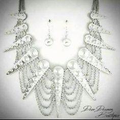 "Necklace &Earring set. Multi-Layered 18"" long / 3"" drop. $18. #DearDreamz #boutique #necklace #fashion #jewelry #follow #instajewelry"