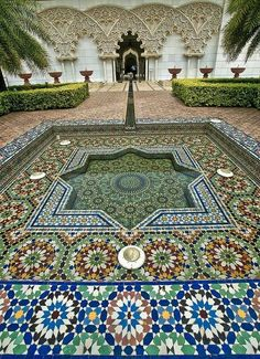 Beautiful Moroccan water feature. Pinned to Garden Design - Water Features by Darin Bradbury.