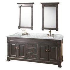 Wyndham Collection WC-TD72BL Andover 72-in. Double Bathroom Vanity Set - WCVTD72BLCW