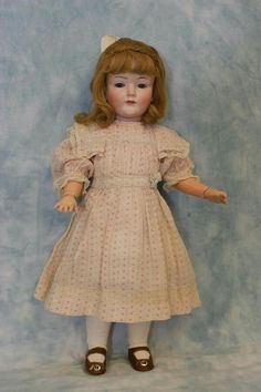 """C.1912 RARE 17"""" German Bisque Kley & Hahn 549 Character Antique Child Girl Doll."""