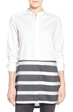 Halogen® Stripe Hem Cotton Tunic (Regular & Petite) available at #Nordstrom