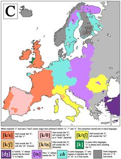 """How they pronounce the letter """"C"""" all over Europe. [[MORE]]HappyRectangle: This is map showing how different languages and dialects pronounce the letter """"c"""" in their writing system. The borders are. Space Map, European Map, Study Spanish, European Languages, Historical Maps, Script Lettering, Me On A Map, Fun Facts, Everything"""
