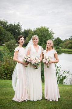 Long Pale Pink Bridesmaid Dresses Coast Outdoor Lakeside DIY Wedding http://julietmckeephotography.co.uk/