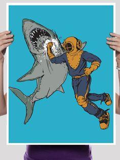 Shark Punch Print 18 x 24 by sharpshirter on Etsy, $18.00
