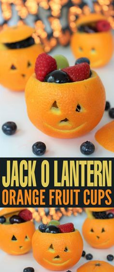 Jack O Lantern Orange Fruit Cups These Jack O Lantern Orange Fruit Cups make for a a healthy but festive Halloween treat perfect for spooky class parties! The post Jack O Lantern Orange Fruit Cups appeared first on Halloween Treats. Halloween Fingerfood, Halloween Fruit, Halloween Snacks For Kids, Halloween School Treats, Halloween Treats For Kids, Halloween Desserts, Halloween Crafts, Halloween Party, Party Platters