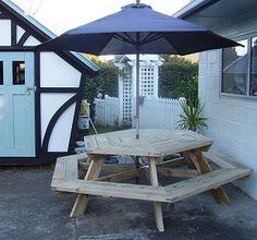 DIY hexagonal picnic table
