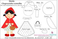 Riding my party Pictures: Little Red Riding Hood cute Felt Patterns, Applique Patterns, Stuffed Toys Patterns, Quiet Book Templates, Felt Templates, Felt Diy, Felt Crafts, Diy And Crafts, Felt Dolls