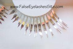 Elegant Lashes C010 Premium Color False Eyelashes (Long, Spiky Silver Metallic False Eyelashes)