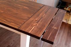 DIY Farmhouse Table with Extension Leaves (with Plans!) - Sweet Tooth Sweet Life Ever dreamed of having your own farmhouse table but didn't want to spend a fortune? Dining Table With Leaf, Farmhouse Dining Room Table, Diy Dining Table, Dining Rooms, Build A Farmhouse Table, Farmhouse Windows, Farmhouse Ideas, Planer, Diy Furniture