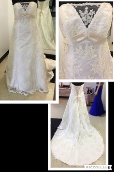 Just in & STUNNING  NWT Ivory/Champagne Swiss dot A-line with beaded lace applique.  Satin empire band & lace up back.  GORGEOUS Chapel Train.  Retails for $700.00.  Our price only $400.00 Size 12 Designer Consigner Boutique 6329 S. Mooresville Road Indianapolis, IN 46221 317-856-6370 317-979-9628-Text Option #Indiana #Indianapolis #Indy #DesignerGowns #DesignerDresses  #WeddingGowns #BridalGowns #Weddings #DestinationBridal #Bridal #Brides