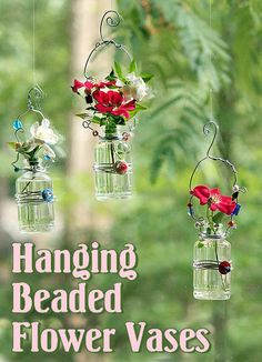 Tutorial: DIY Hanging Beaded Flower Vase. Could be made with buttons.